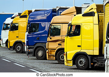 Trucks on a highway parking place - Many Related trucks on a...