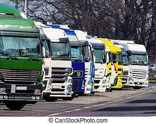 trucks on a rastplartz on the highway, symbol photo for...