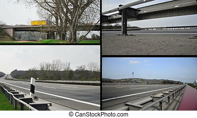 trucks on german autobahn/highway driving away - combined to...