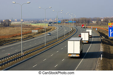 Trucks on the highway A1 in Poland
