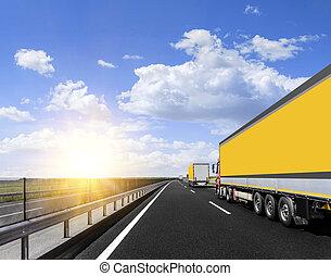 Trucks on the highway.