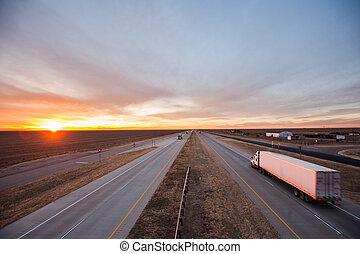 Trucks on the open road