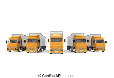 Trucks Orange. Part of Warehouse and Logistics Series.