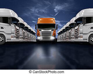Trucks presentation - Some white trucks and one red leader...