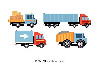 Trucks set, delivery vehicles, side view vector Illustration on a white background