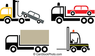 Trucks - set of vector icon - Tow truck, forklift truck -...