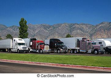 Trucks at rest area north from Salt Lake City, Utah, USA