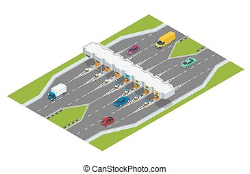 trucks., toll., vetorial, rodovia, ilustração, estrada, tollson., pagamento, pedágio, apartamento, rodovia, isometric, carros, barreiras, turnpike, ponto verificação, 3d