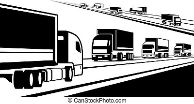 Trucks transporting goods on the road