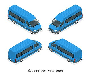 Trucks Vector isometric transport. Commercial Vehicle. Delivery truck. Flat style vector illustration delivery service concept.
