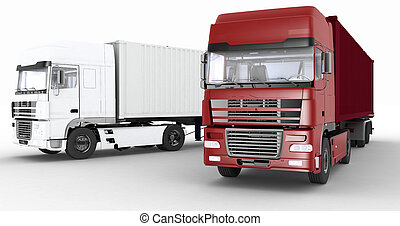 Trucks with semi-trailer on white