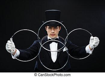 truco, actuación, mago, anillos, ligar