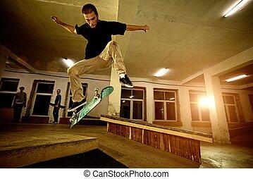 truco, amaestrado, joven, skatepark