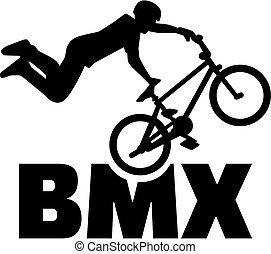truco, bici del bmx, jinete