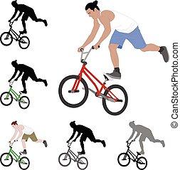 truco, ciclista, ilustración, color, silueta, bmx