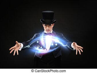 truco, cima, mago, sombrero, actuación