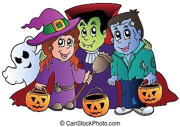 truco, halloween, o, caracteres, gusto