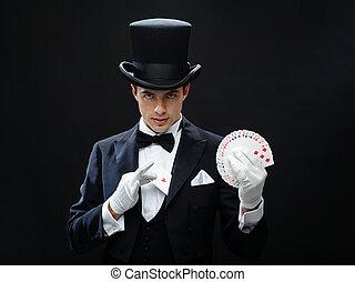 truco, tarjetas, actuación, mago, juego