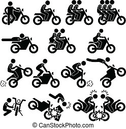 truco, temerario, motocicleta, icono