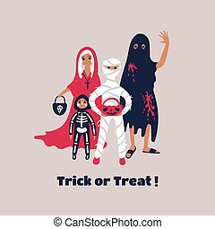 truco, treating., vestido, niños, imaginación, halloween, o...