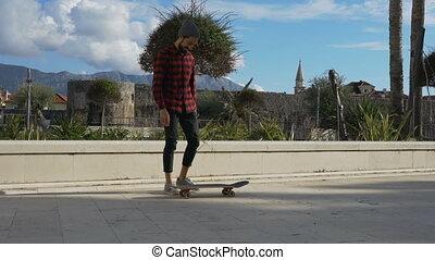 trucs, op, skateboarder, uitvoeren, jonge, weinig, ...