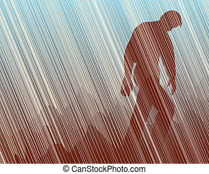 Trudge - Editable vector illustration of a man walking in...