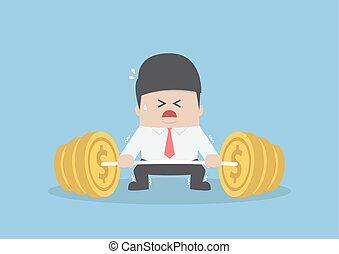 trudny, ciężar, twardy, do góry, barbell, biznesmen, pieniądz, podnoszenie