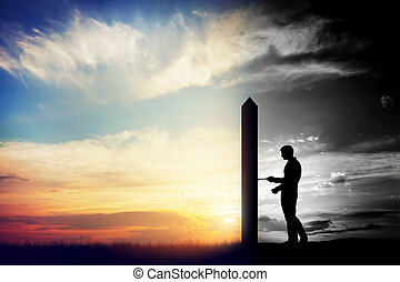 trudny, zmiana, światki, lepszy, człowiek, world., drzwi, konceptualny, dwa, otwarty, nowy