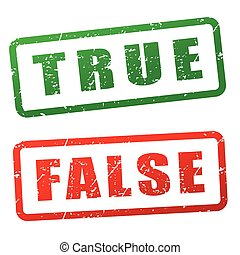 true and false stamp design