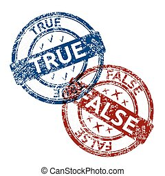 true blue and false red grunge round vintage rubber stamp