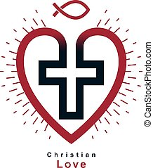 True Christian Love and Belief in God, vector creative...