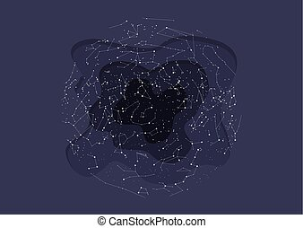 true constellations of the Northern hemisphere. Dark blue sky