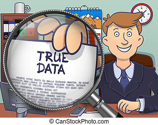 True Data through Lens. Doodle Concept.
