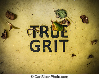 True Grit Sign - Conceptual Image Of True Grit Written On A...