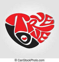 true love text making an abstract heart