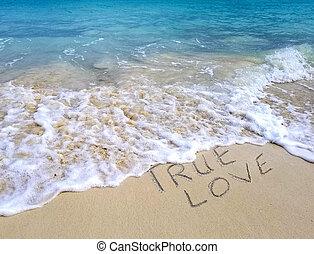true love text on ocean beach