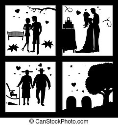 True Love Until Death Silhouette - vector illustration Of...