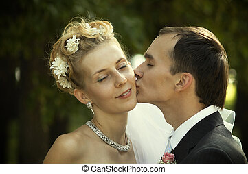 True love - wedding kiss(special photo f/x,focus on the face...