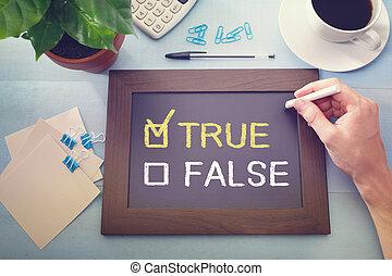True or False checkboxes sketched on a little blackboard -...