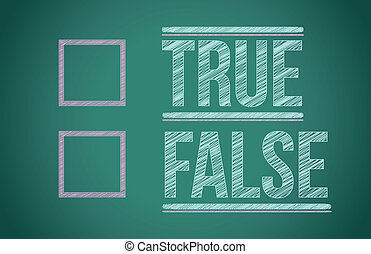 true or false with checkboxes illustration design over white