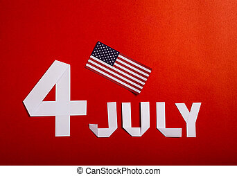 True paper cut of American Independence Day 4th July with Flag