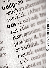 """True - Selective focus on the word """"true"""". Many more word ..."""