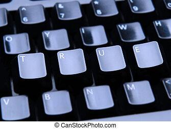 True Spelled Out on Keyboard