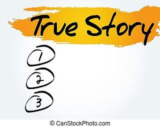 True Story blank list, business concept