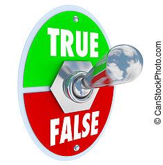 True Vs False Toggle Switch Choose Honesty Sincerity