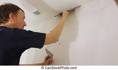 truelle, plâtrer, ouvrier, plafond
