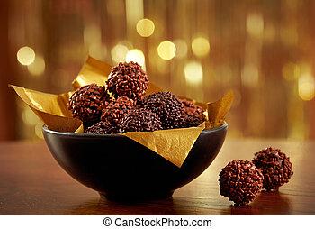 trufas, chocolate