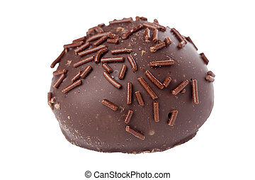 Truffle candy coated chocolate with decorative powdered for...