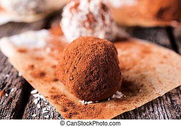 Truffle - Homemade sweet truffle on the table.Selective...