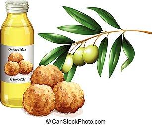 Truffle oil in bottle and fresh vegetables illustration